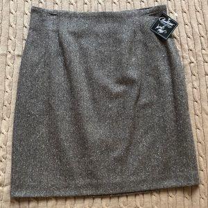 Brown Virgin Wool Tweed Skirt